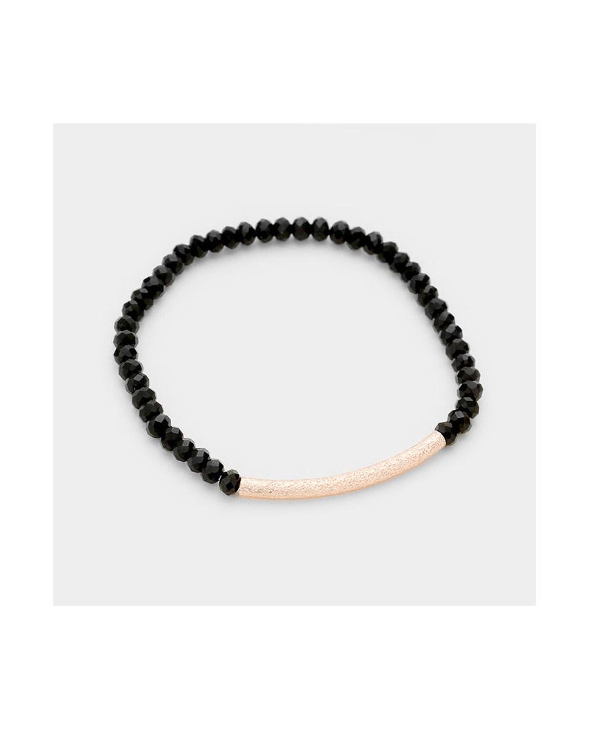 Bracelet extensible avec tube en métal texturé et perles à facettes
