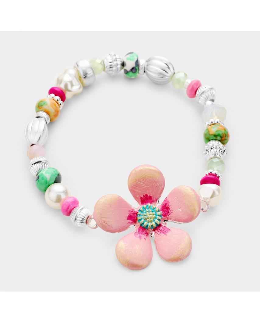Bracelet extensible avec fleur et perles multicolores