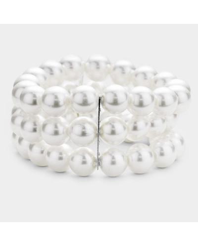 Bracelet extensible à trois rangs de perles
