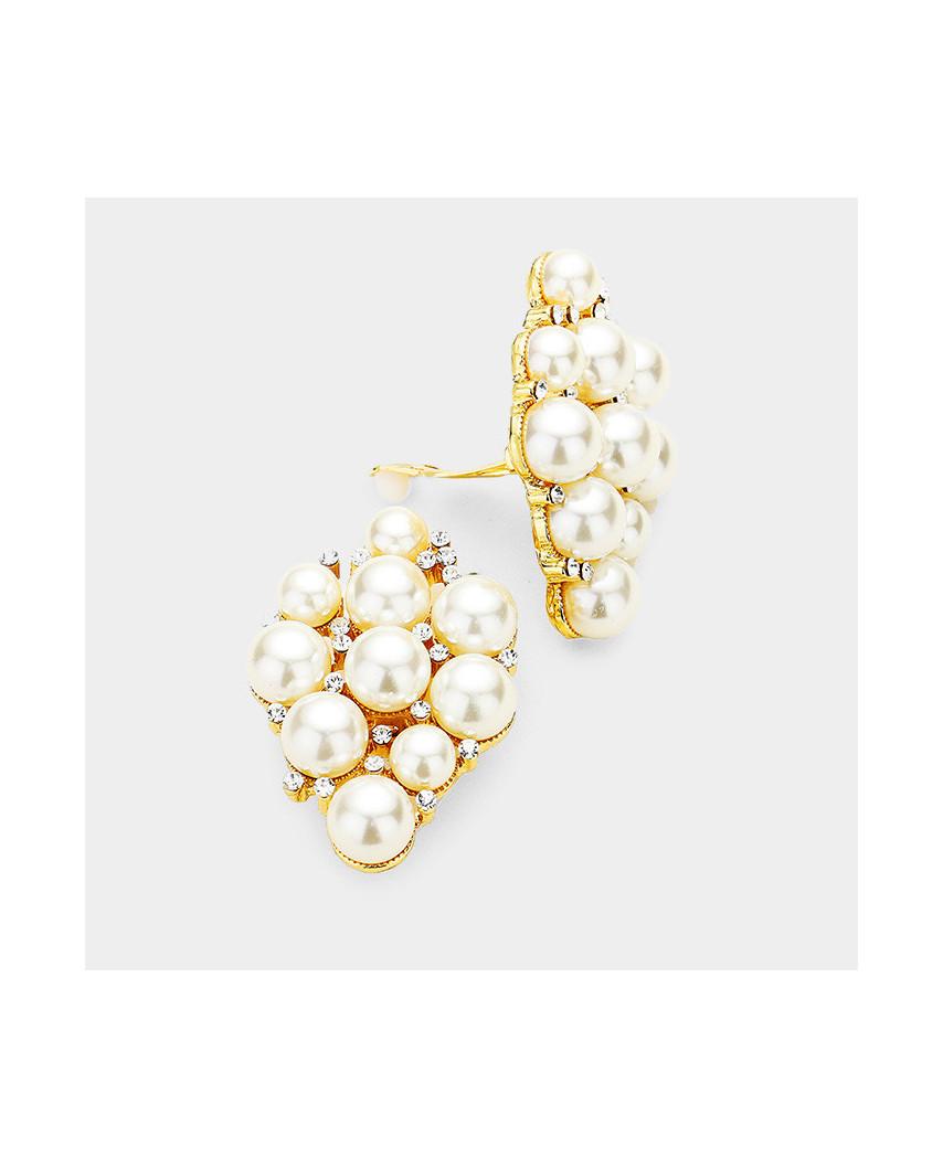 Boucles d'oreilles à clips losange de perles et cristaux