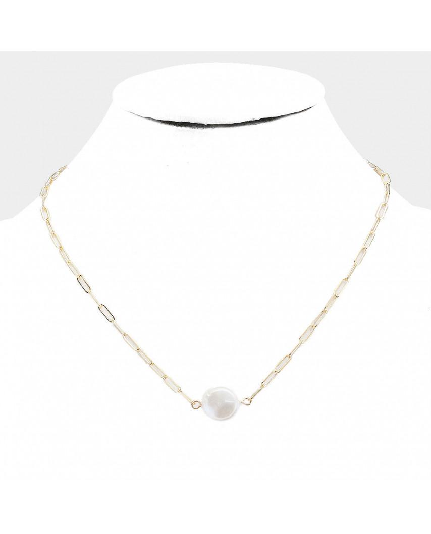 Collier à maillons avec pendentif perle d'eau douce