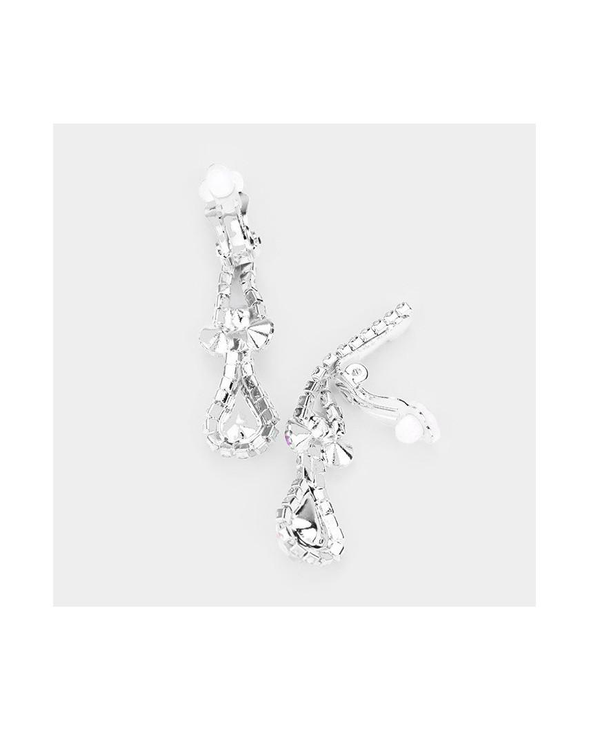 Parure de bijoux à strass et pierres collier + boucles à clips