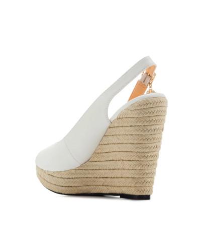 Sandales peep toes à talons compensés AM5429 - Grande taille (blanc mat)