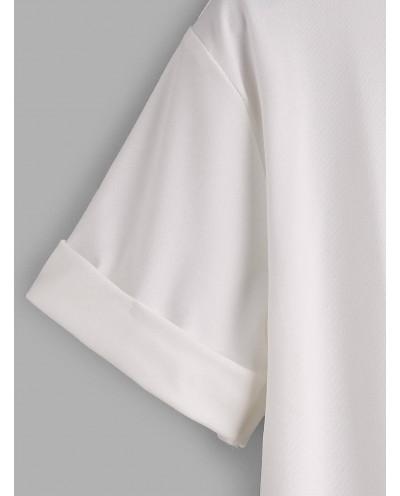 Tee-shirt uni col rond et manches courtes roulées (blanc)