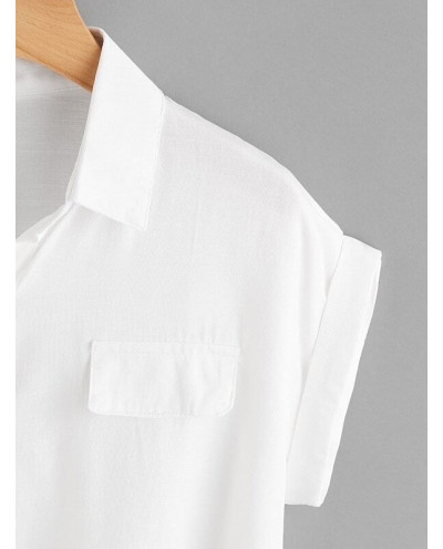 Chemisier noué manches courtes en grande taille (blanc)