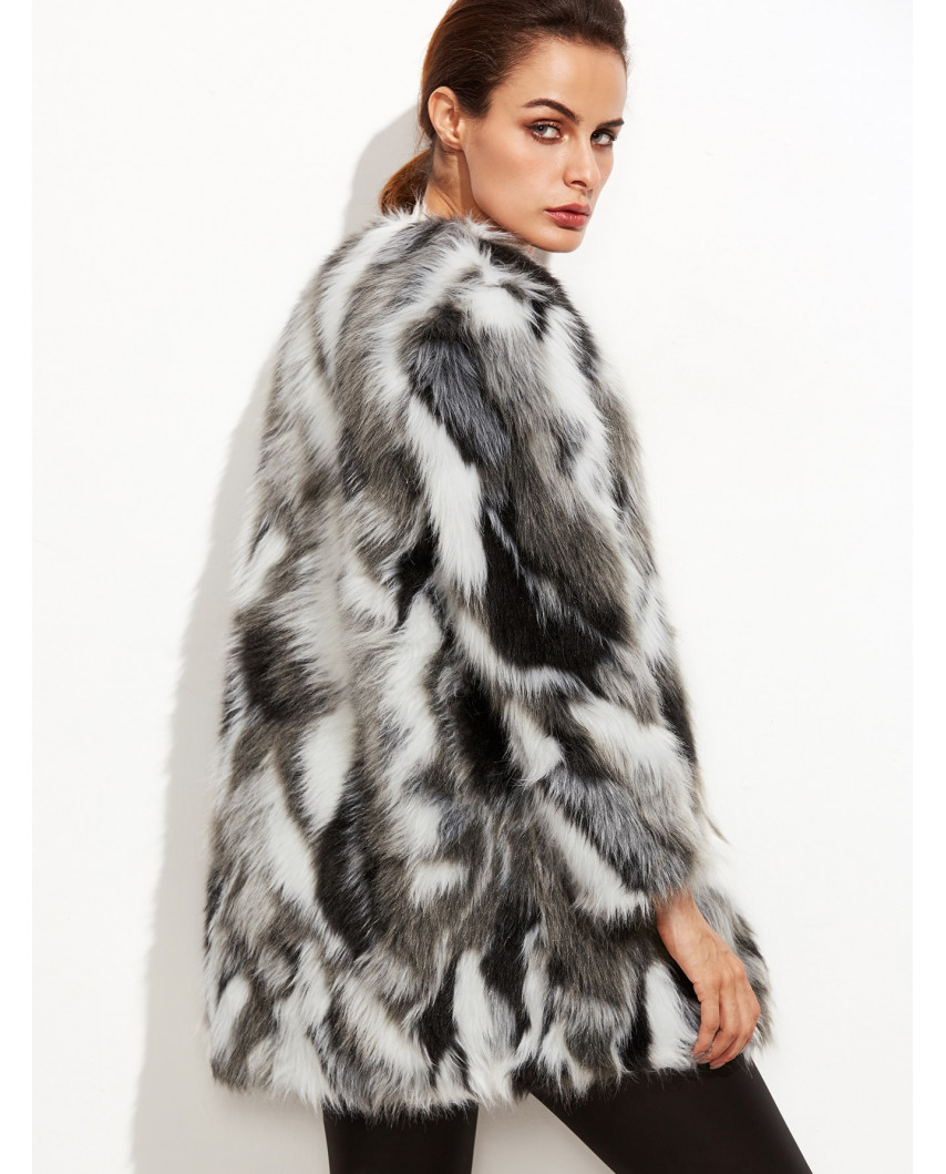 Manteau en fausse fourrure sans col
