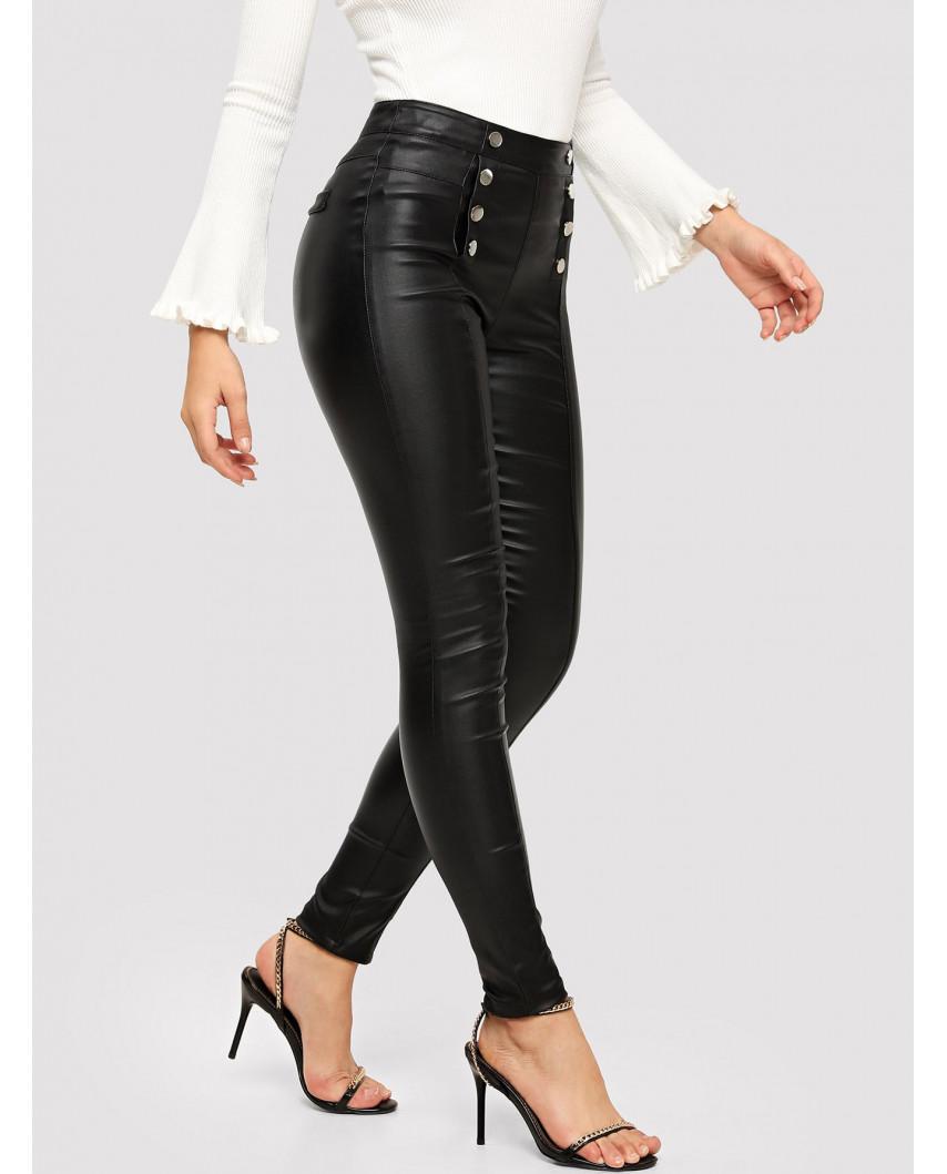 Pantalon skinny en similicuir à double boutonnage (noir)