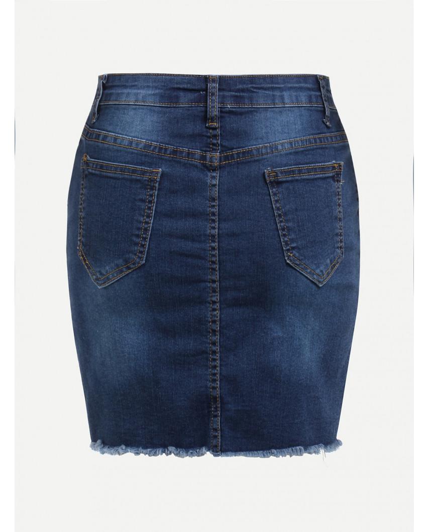 Jupe en jean avec découpe décalée (bleu foncé)