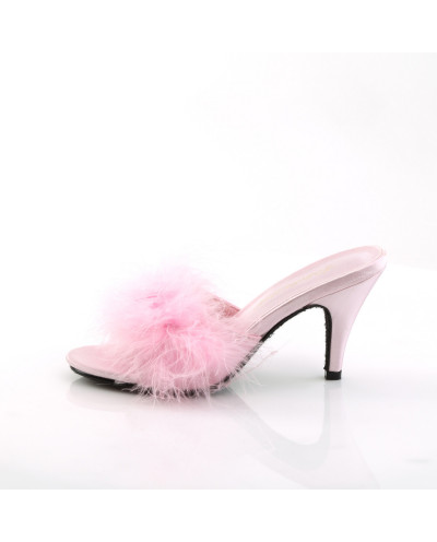 Fabulicious — Mules marabout à talons Amour-03 (satin rose)