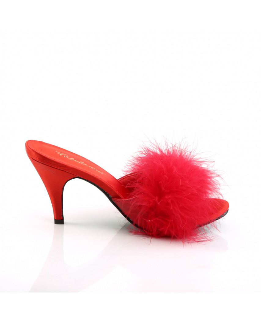 Fabulicious — Mules marabout à talons Amour-03 (satin rouge)