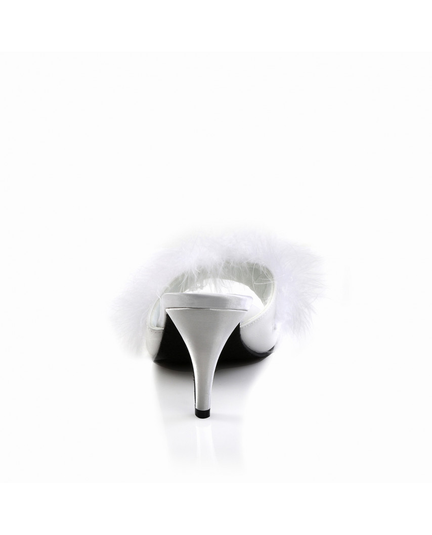 Fabulicious — Mules marabout à talons Amour-03 (satin blanc)
