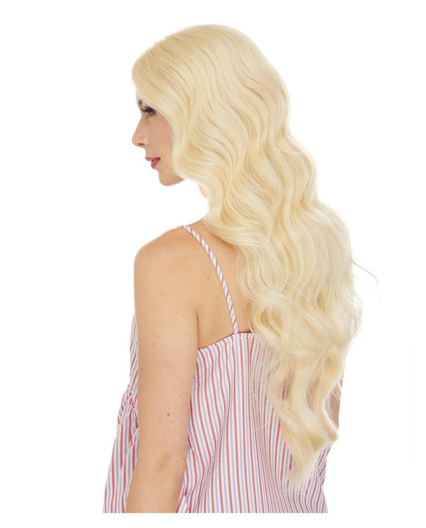 Perruque semi-naturelle lace front ondulée Bridget (blond platine)