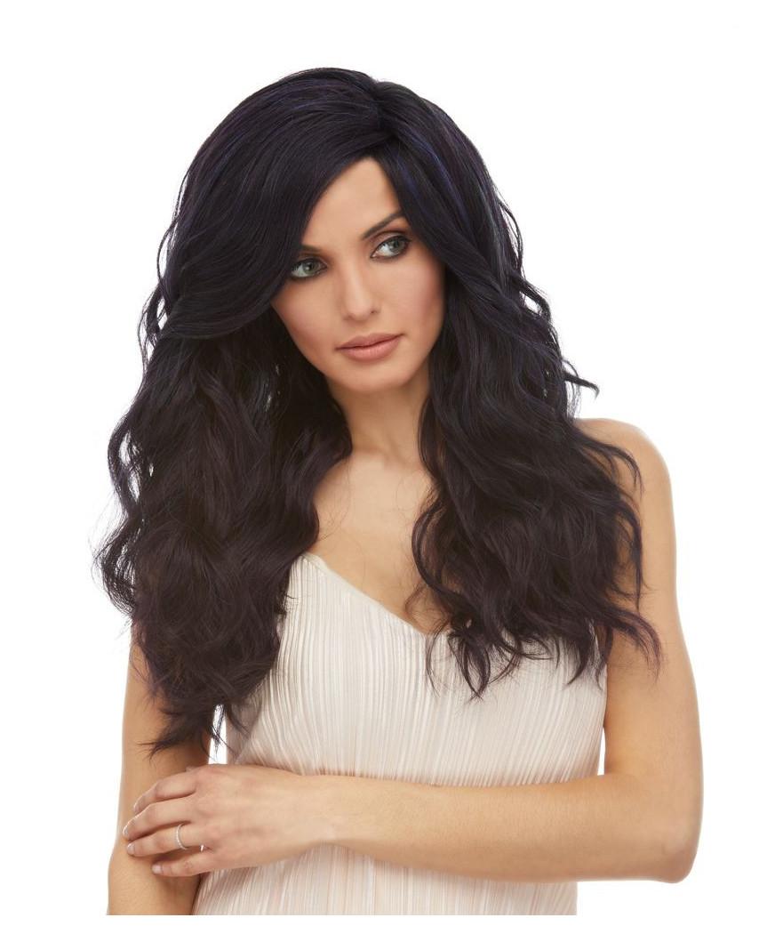 Perruque lace front aux cheveux synthétiques et ondulés Calyx (reflets bleus)