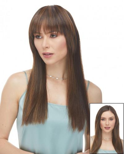 Frange à clips droite en cheveux synthétiques (châtain)