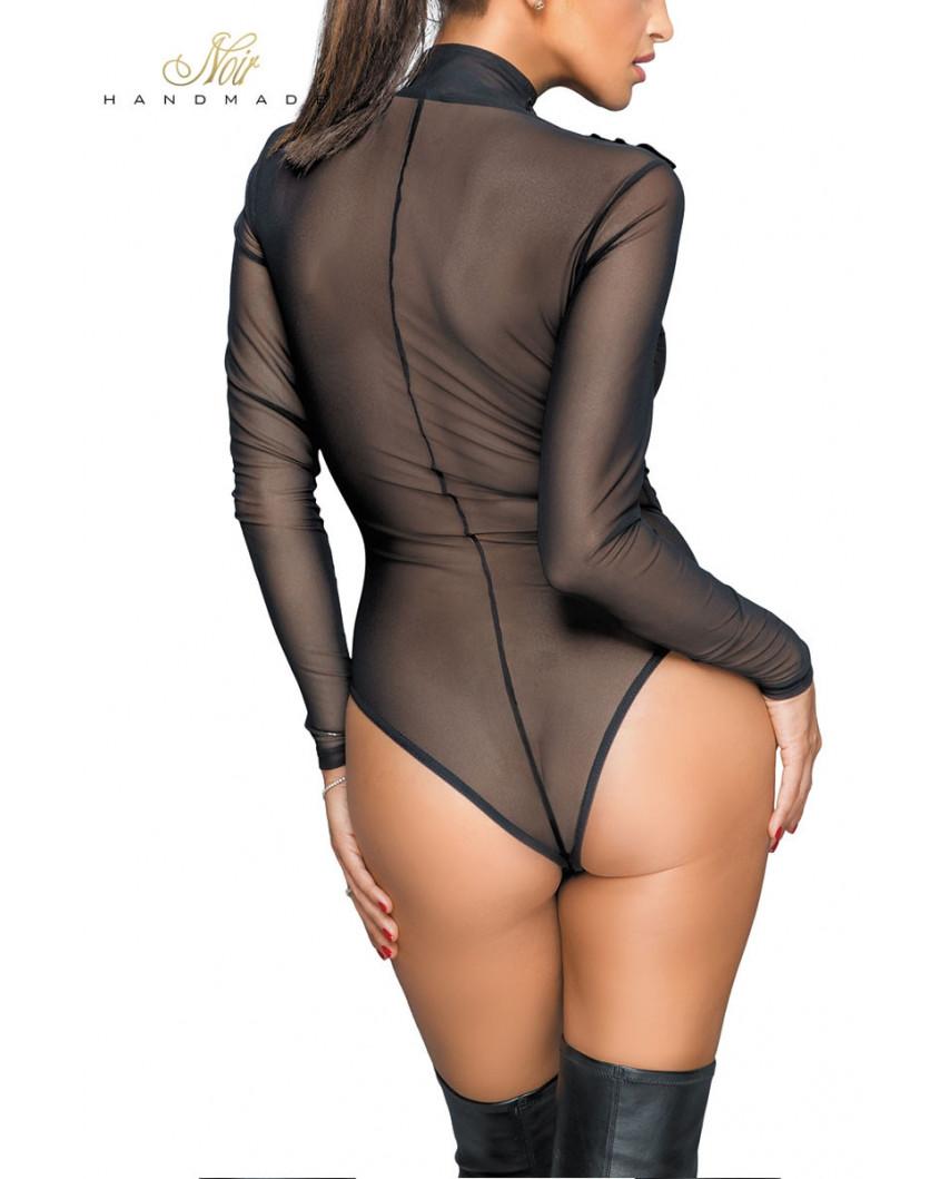 Noir Handmade - Body transparent en tulle et broderies F221