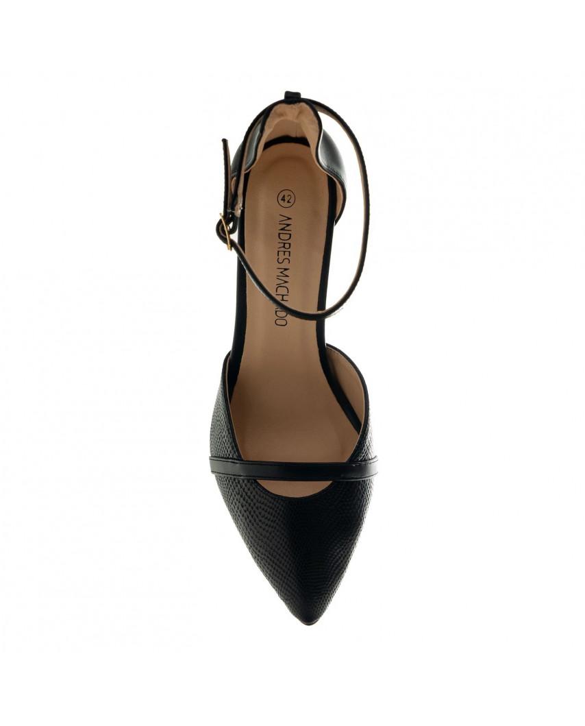 Andrés Machado — Escarpins stilettos à bride de cheville AM5507 (noir)