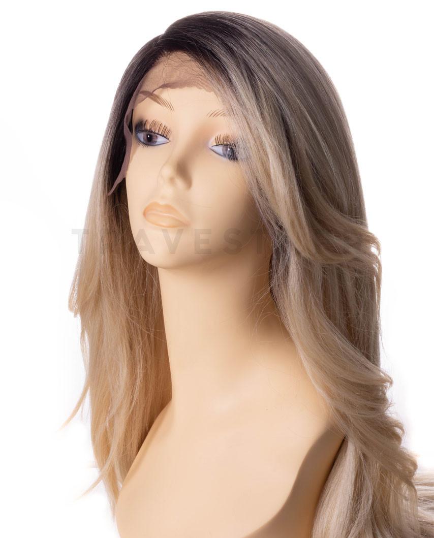 Très longue perruque synthétique ondulée et lace front Prudence (blond)