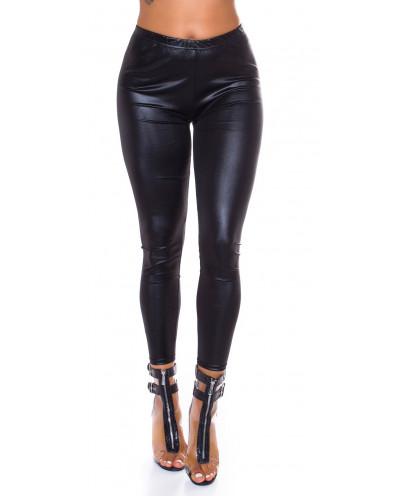 Leggings moulant wet look (noir)