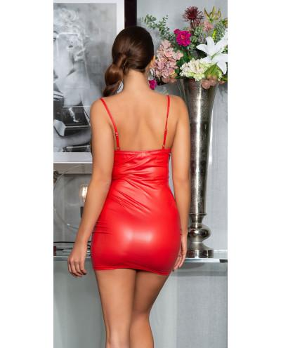 Mini-robe wet look et fermeture à crochets (rouge)