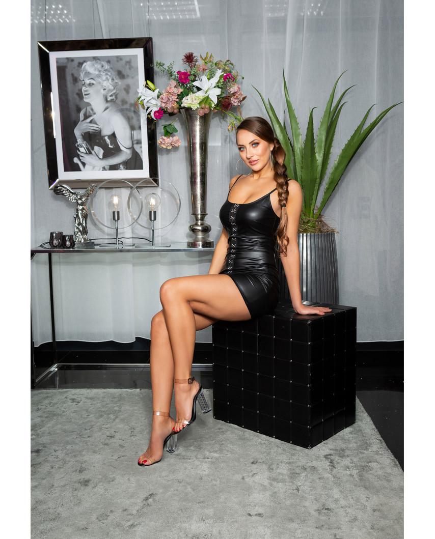 Mini-robe wet look et fermeture à crochets (noir)