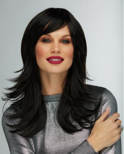 Blush — Perruque synthétique mi-longue cheveux ondulés Hannah (noir)