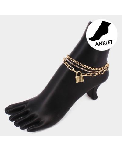 Bracelet de cheville 3 chaînes et cadenas
