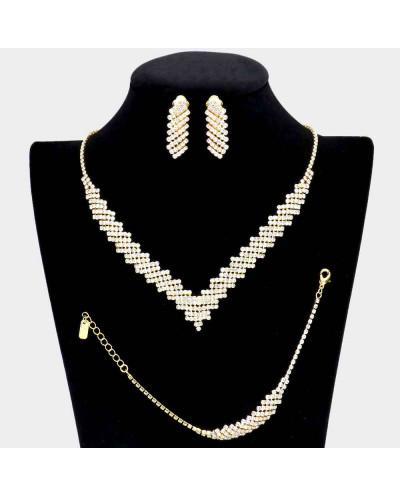Parure de bijoux collier en V, bracelet et boucles d'oreilles à clips à strass (3 pièces)