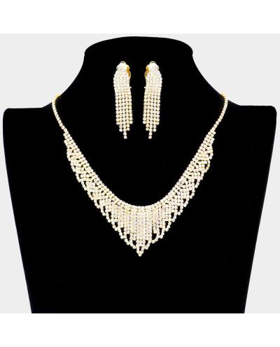 Parure de bijoux collier en V et boucles à clips à franges et strass
