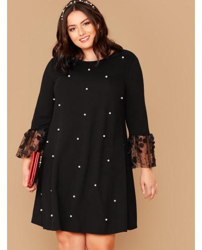 Robe tunique à perles et manches 3/4 (noir) - Grande taille