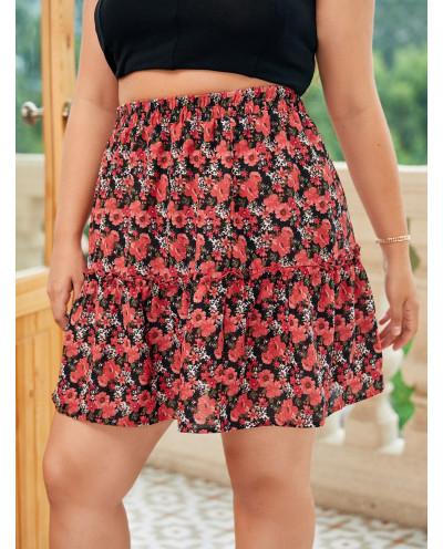 Jupe à froufrous et imprimé floral (rouge) - Grande taille
