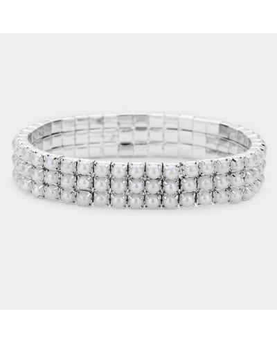 Bracelet extensible à trois rangs de petites perles