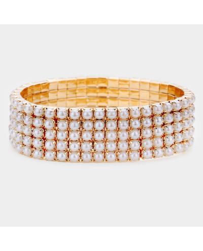 Bracelet extensible à cinq rangs de petites perles