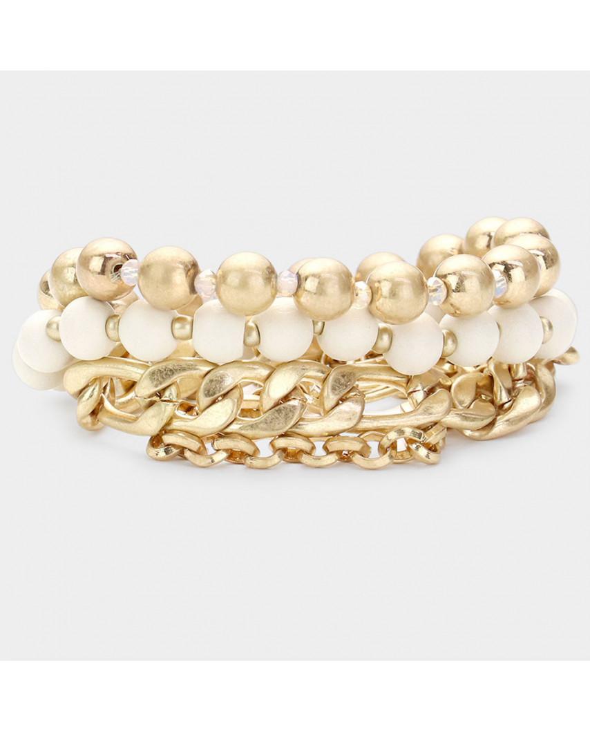 Trio de bracelets extensibles - perles en bois et chaîne à maillons