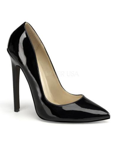 Pleaser — Escarpins à talons aiguilles et bout pointu Sexy-20 (noir verni)