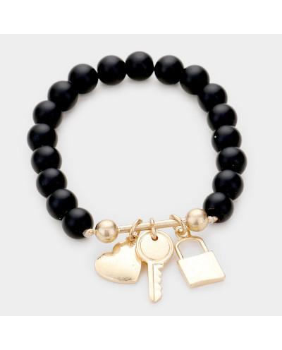 Bracelet extensible à perles en métal, cadenas, cœur et clé