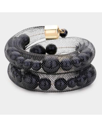 Bracelet extensible tube en résille et perles