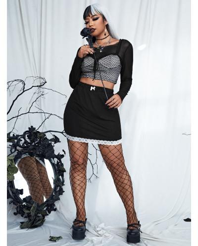 Jupe petit nœud et bordure en dentelle (noir) - Grande taille