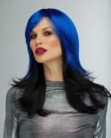 Blush — Perruque synthétique mi-longue cheveux ondulés Hannah (bleu)