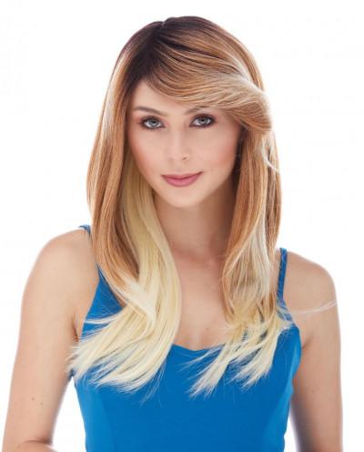 Sepia — Perruque synthétique longue à frange balayée Ginger (blond)