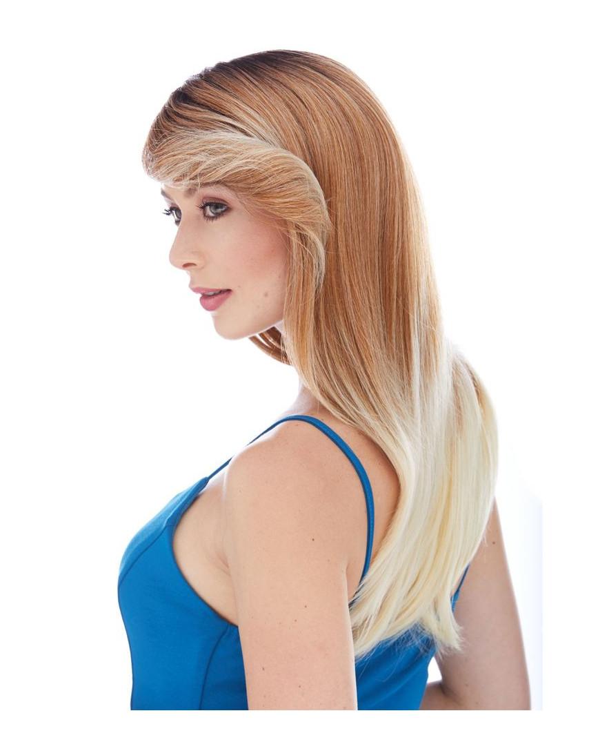 Sepia — Perruque synthétique longue à frange balayée Ginger