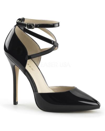 Pleaser — Escarpins d'Orsay talons aiguilles à bride croisée Amuse-25 (noir verni)