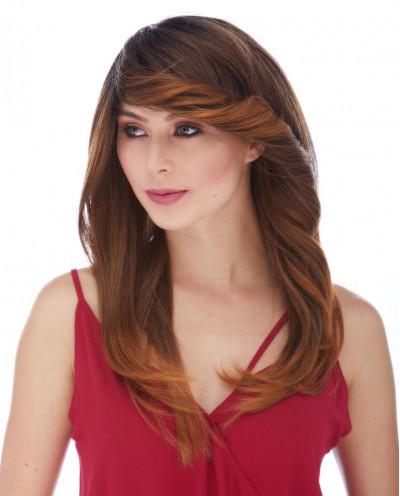 Sepia — Perruque synthétique longue à frange balayée Heather (châtain)