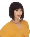 Eleganté — Perruque en cheveux 100% naturels courte au carré Cassandra (brun)