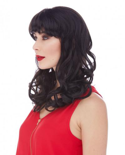 Sepia — Perruque synthétique mi-longue de déguisement pin-up Catherine
