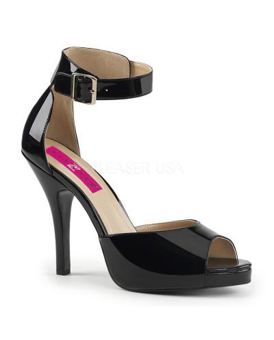 Pleaser — Sandales à brides à talons aiguilles Eve-02 (noir verni)