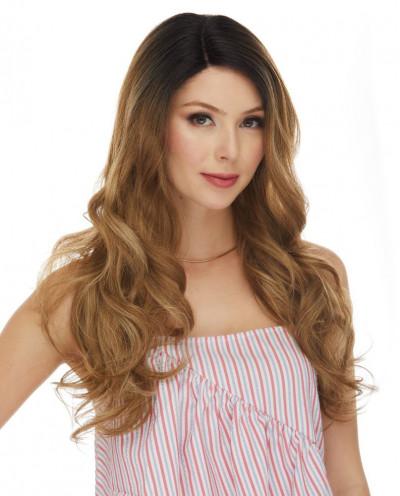 Sepia — Perruque lace front semi-naturelle ondulée Selena