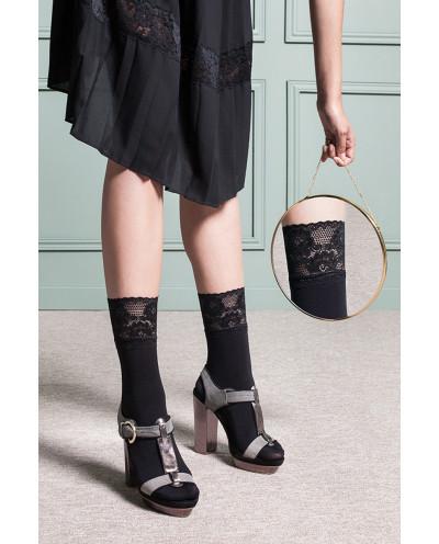 Gabriella — Socquettes opaques à jarretière large Nina
