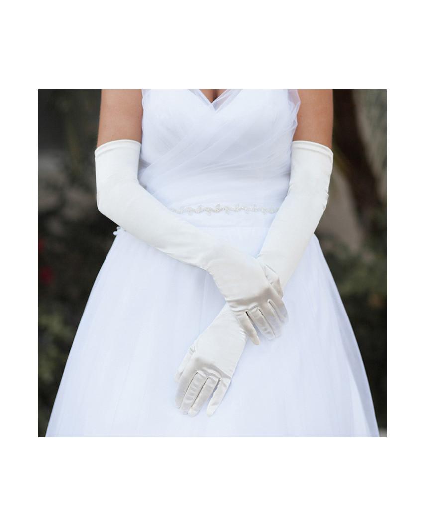 Longs gants habillés en satin style mariée