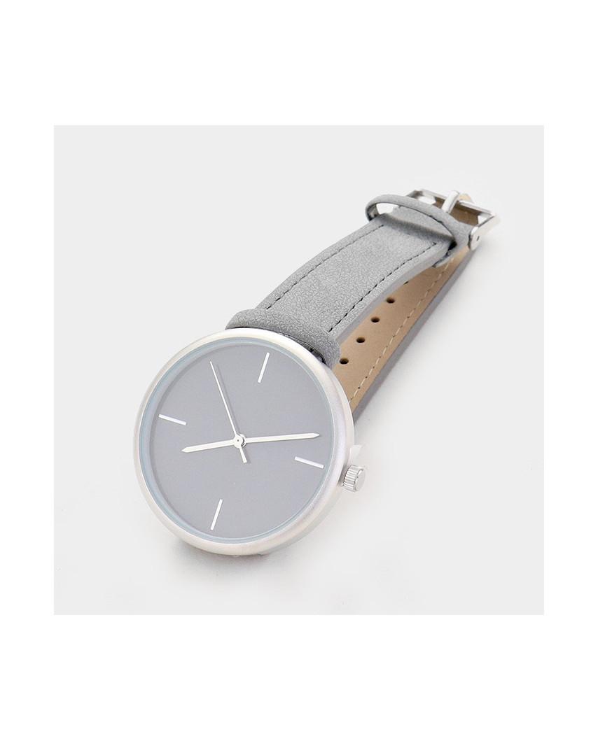 Montre à cadran rond et bracelet faux cuir