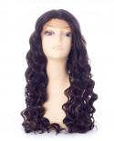 Sepia — Perruque synthétique longue et lace front Celestial (brun)